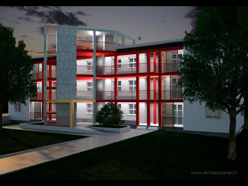 Modern apartment house rendering