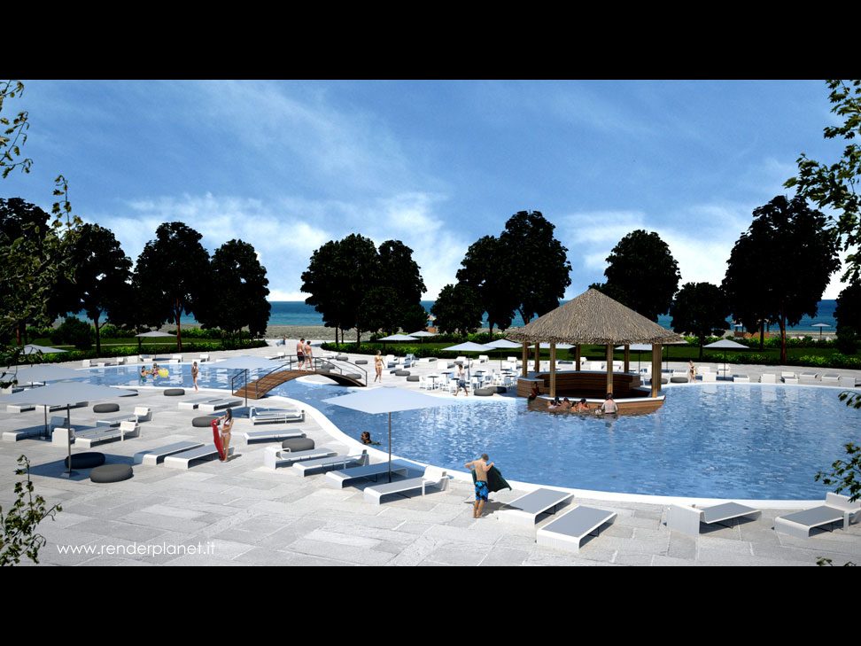 Resort swimming pool rendering