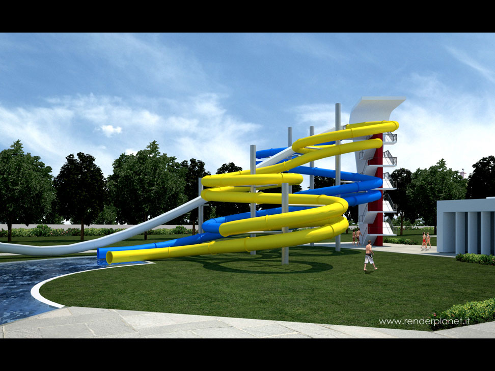 Water park slides rendering
