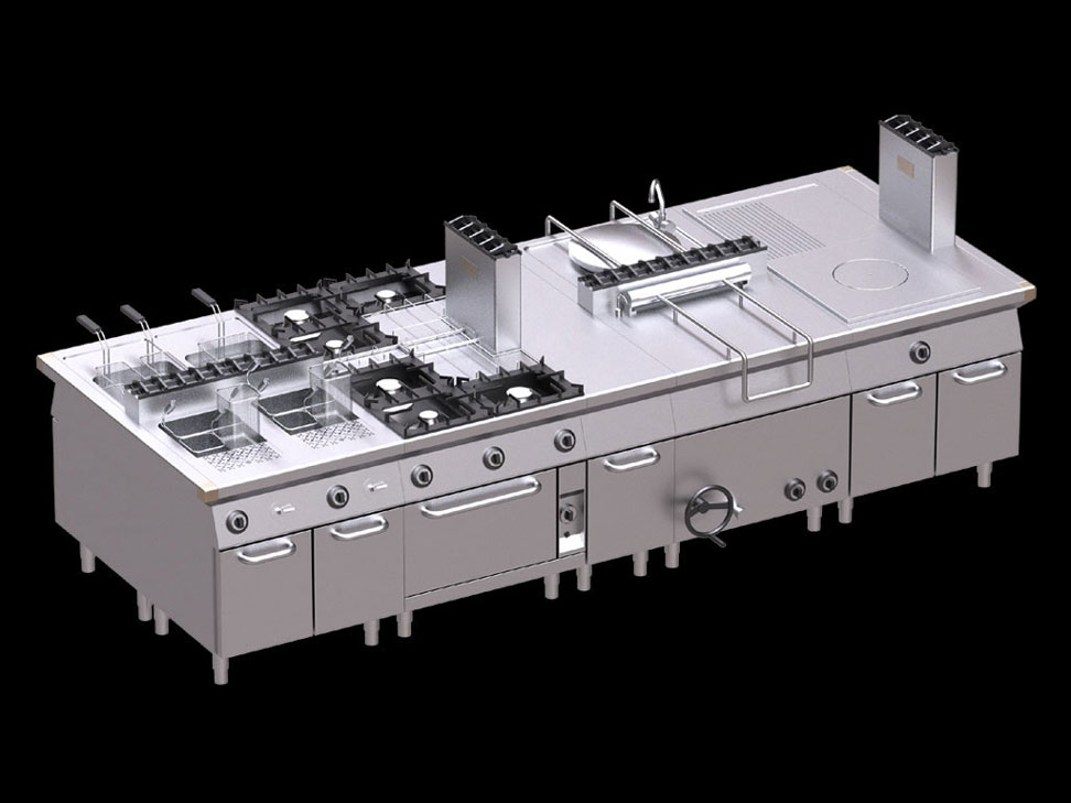Professional kitchen rendering