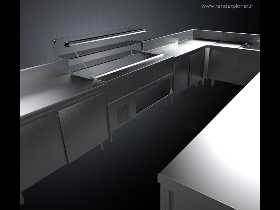 Stainless steel furniture rendering