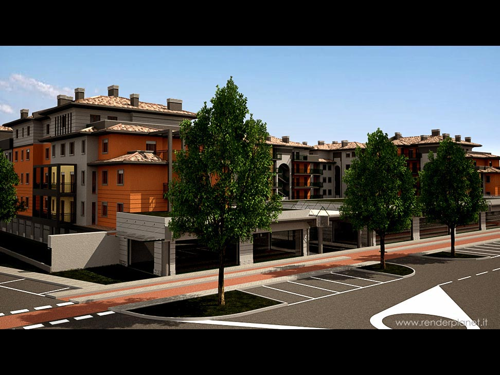 Rendering di complesso residenziale