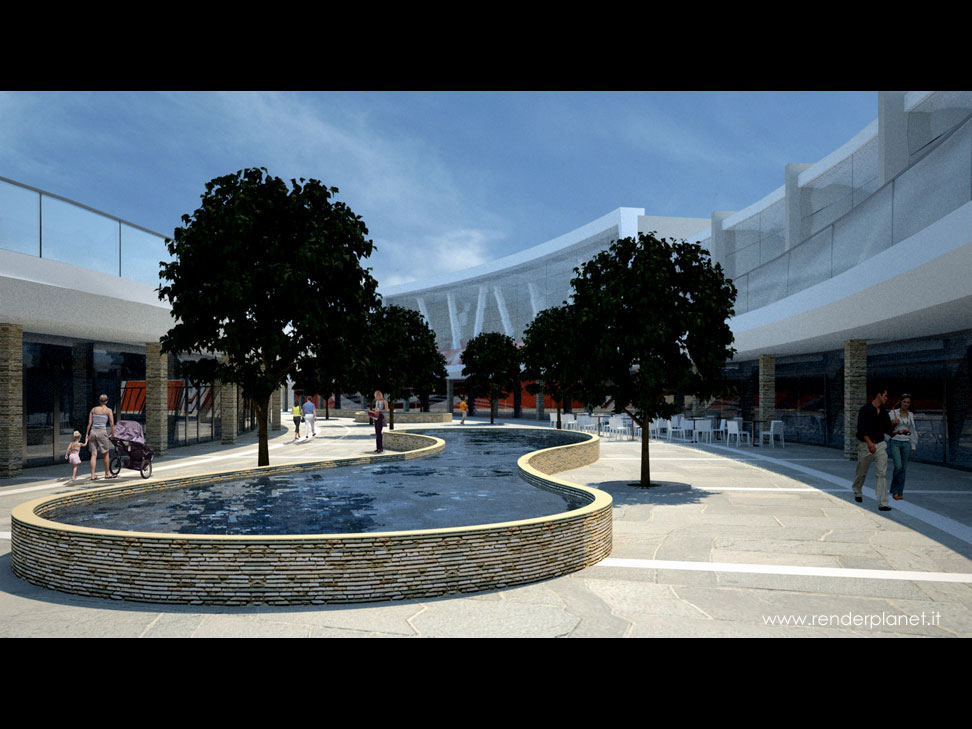 Rendering di galleria commerciale