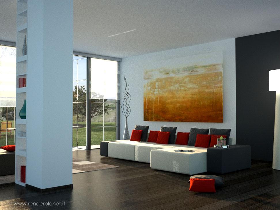 Rendering di soggiorno moderno